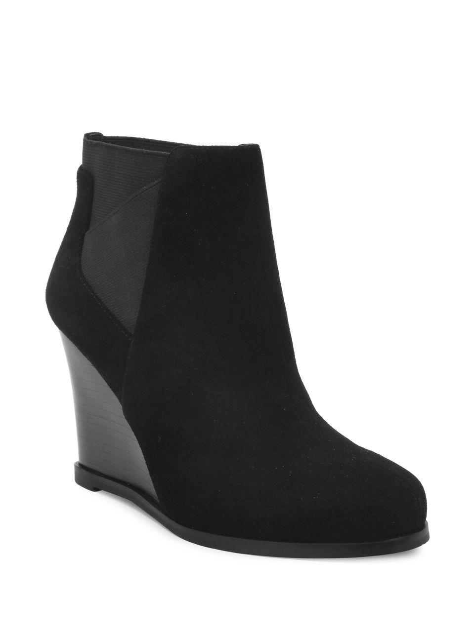 Lyst Tahari Cora Suede Wedge Ankle Boots In Black