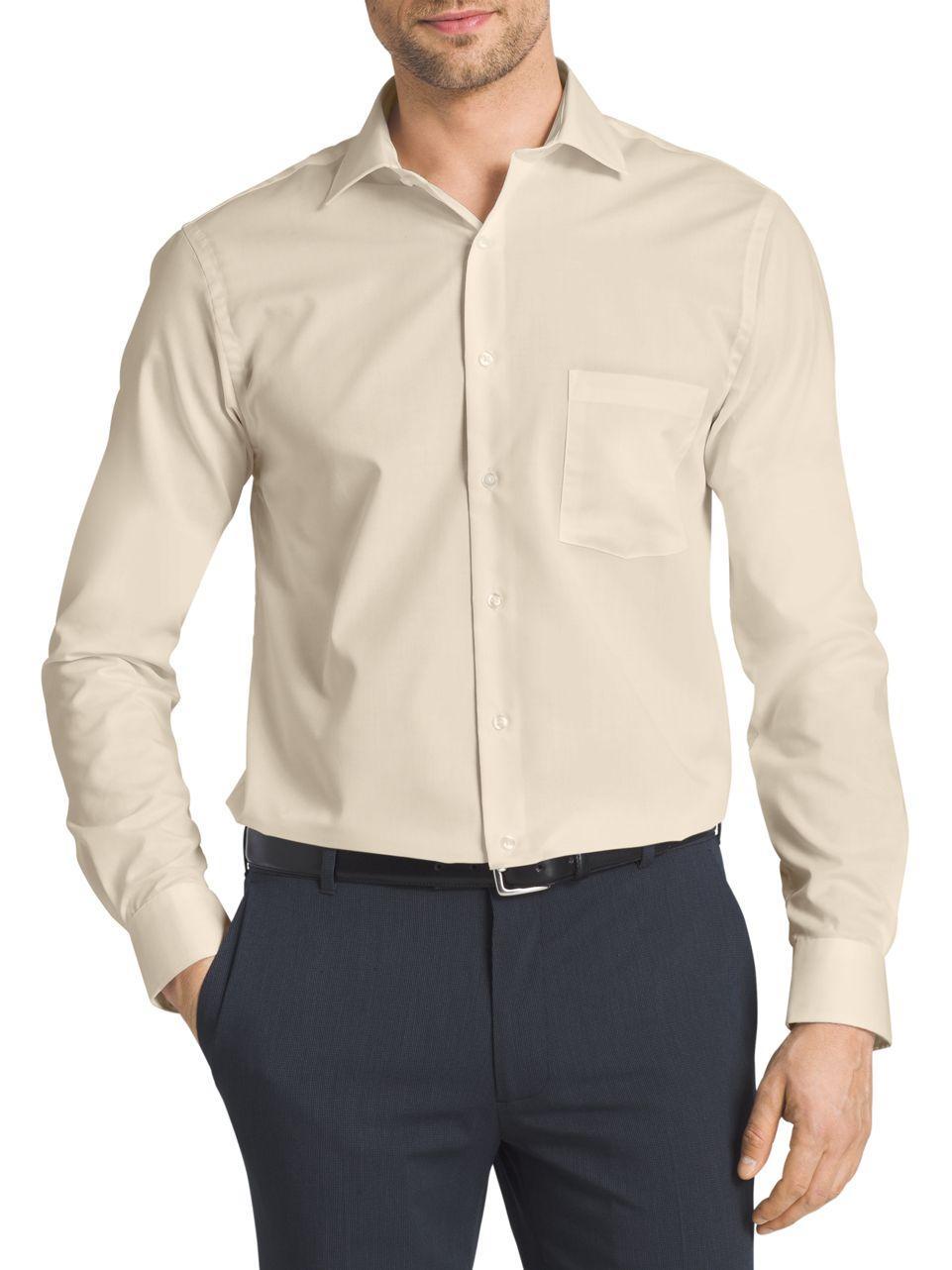 Van heusen flex collar dress shirt in natural for men for Van heusen shirts flex collar