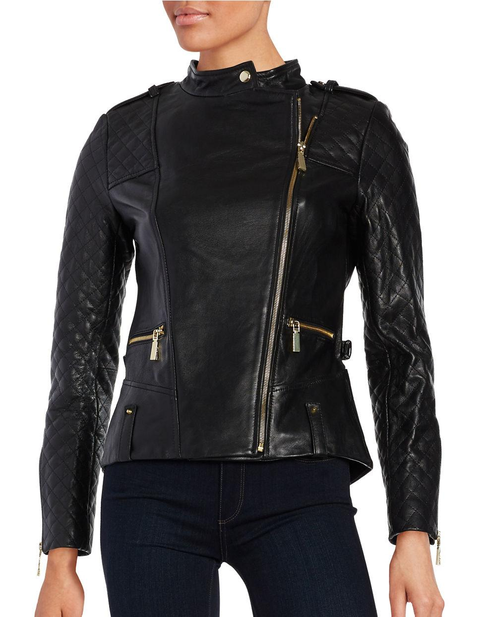 Vince Camuto Leather Front Zip Moto Jacket In Black Lyst