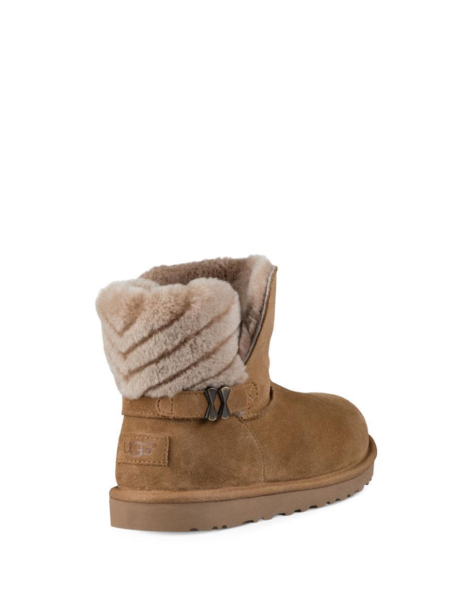 ugg adria sheepskin boots in brown lyst