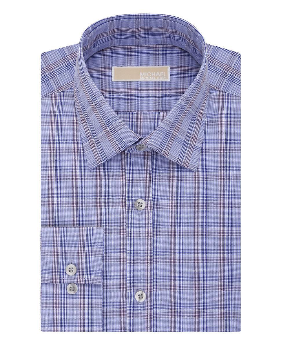 Michael Michael Kors Plaid Dress Shirt In Purple For Men