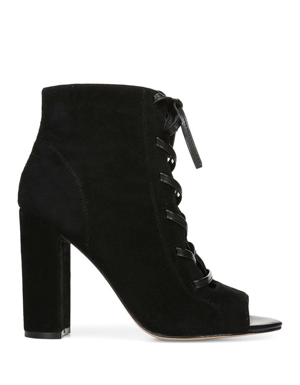 sam edelman yvie suede ankle boots in black lyst