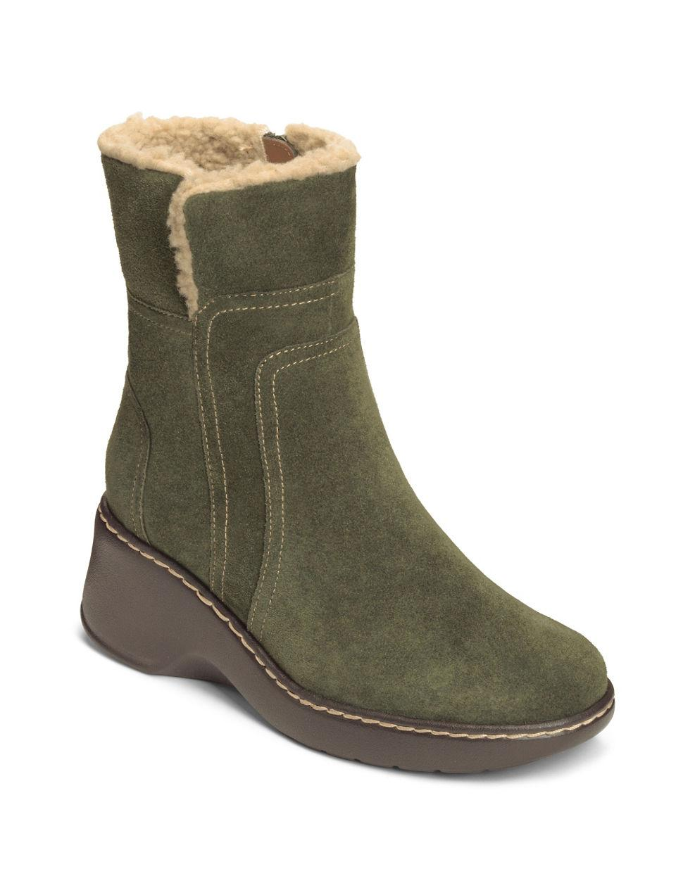 aerosoles side kick fleece trim suede boots in green lyst