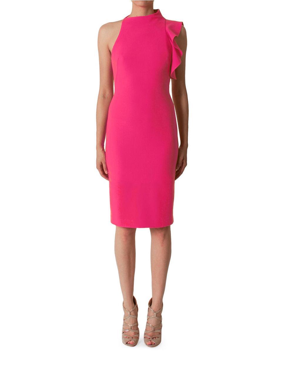 Black Halo Pabla Mock Neck Sleeveless Sheath Dress In Pink