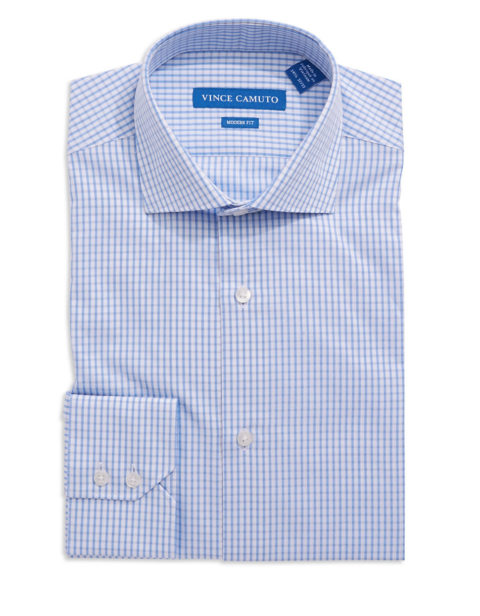 Vince Camuto Modern Fit Checkered Dress Shirt In Blue For
