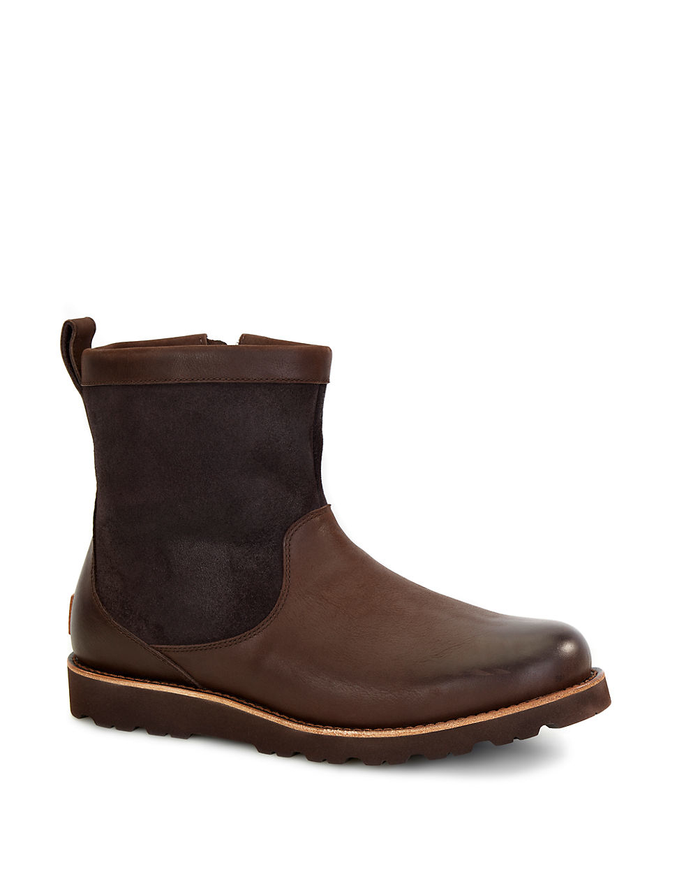 ugg munroe shearling lined leather boots in brown for