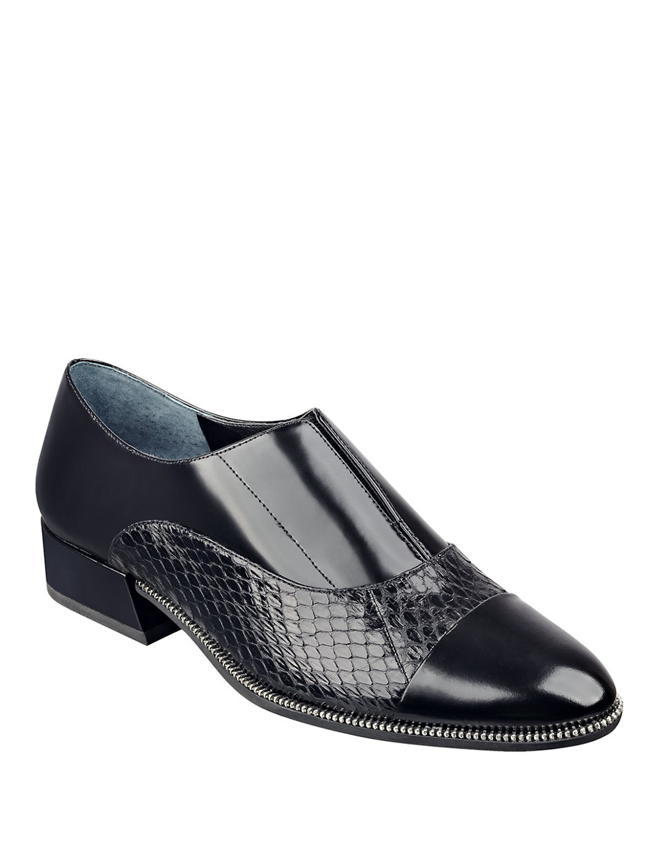 Marc Fisher Idris Snake Leather Loafers In Black Lyst