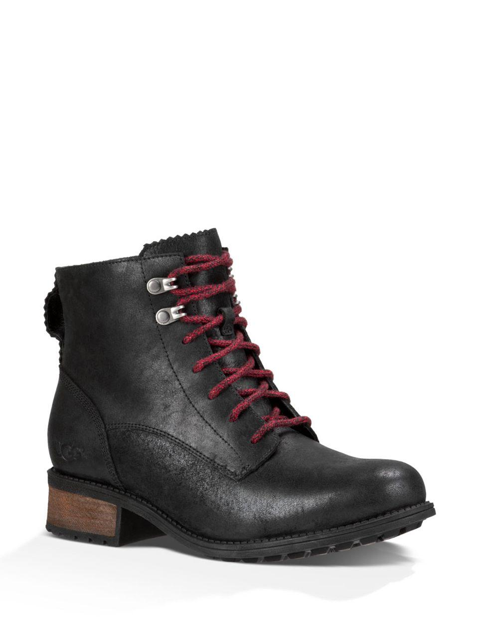 Ugg Denhali Pure Leather Lace Up Boots In Black For Men Lyst