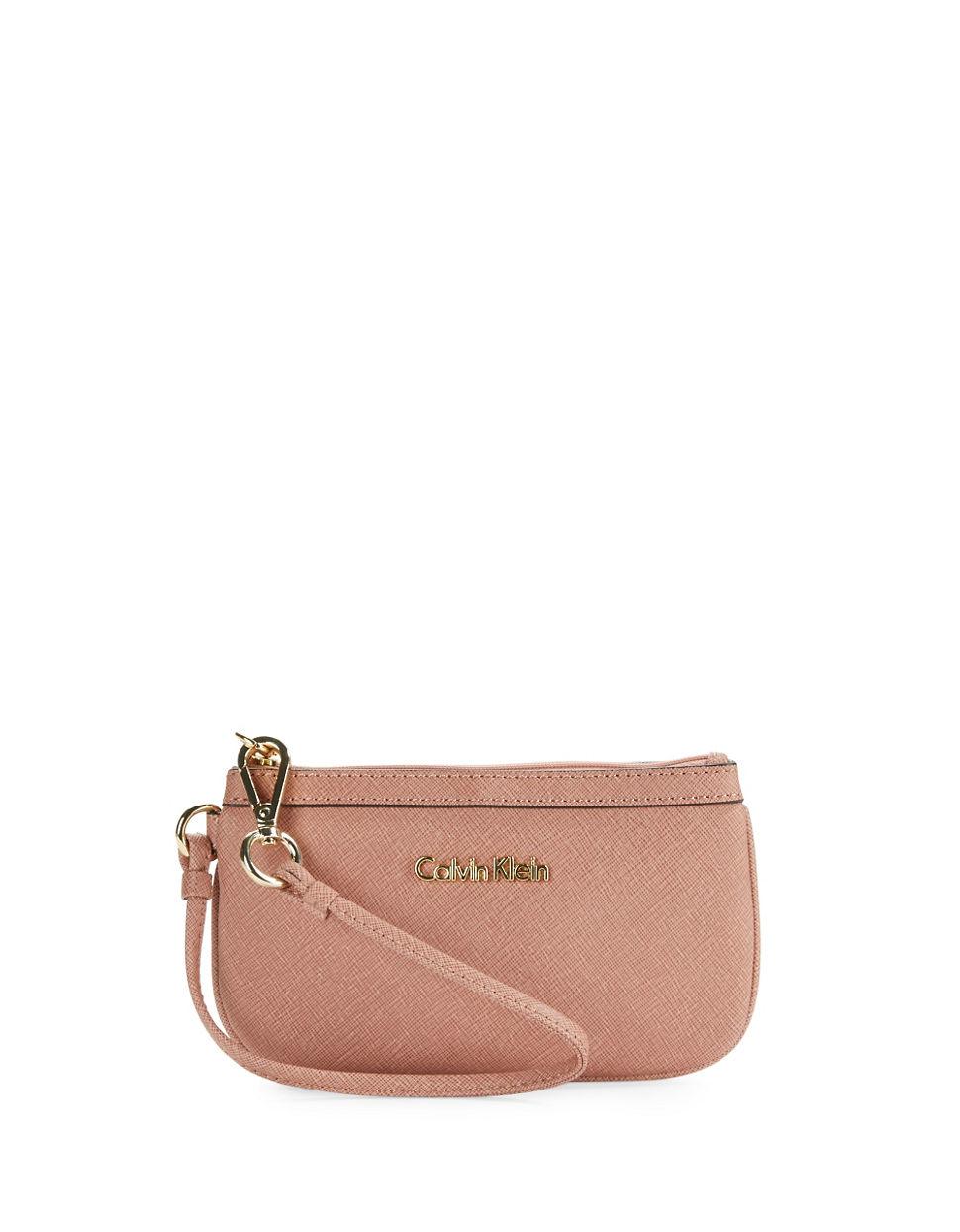 Calvin Klein Saffiano Leather Wristlet In Pink Lyst