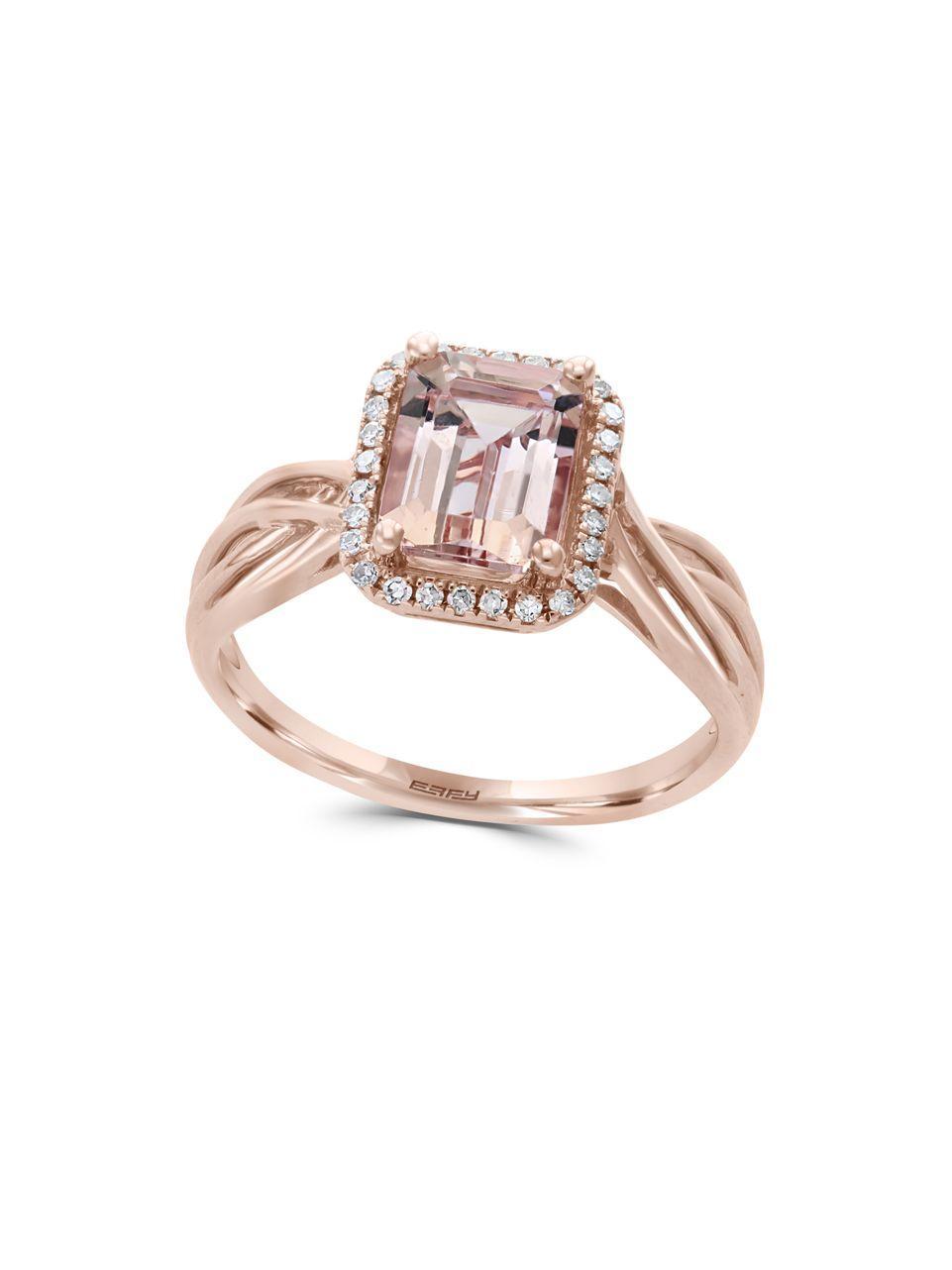 lyst effy morganite diamond and 14k rose gold ring in. Black Bedroom Furniture Sets. Home Design Ideas