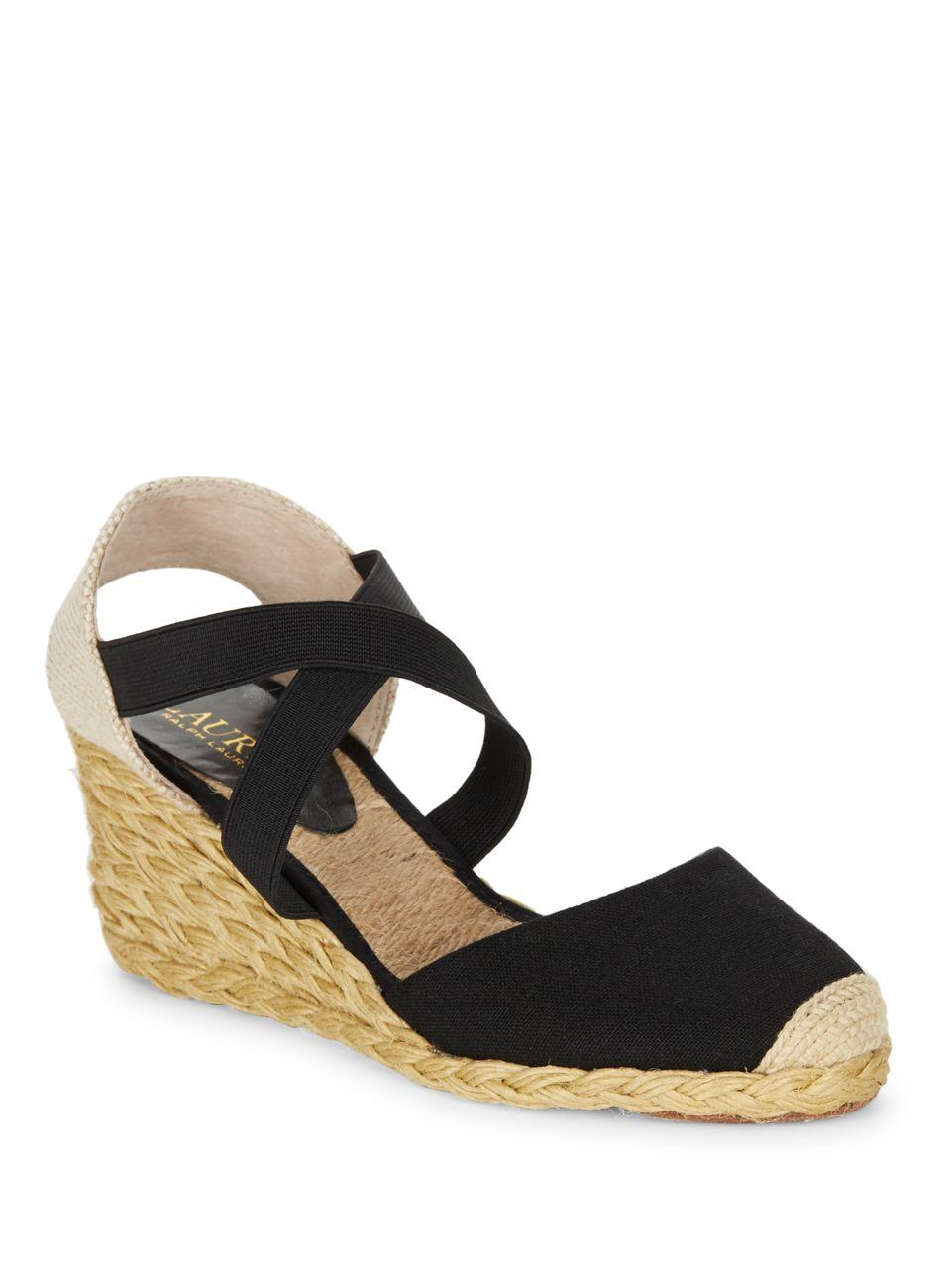 lauren by ralph lauren casandra espadrille wedge sandals in black lyst. Black Bedroom Furniture Sets. Home Design Ideas