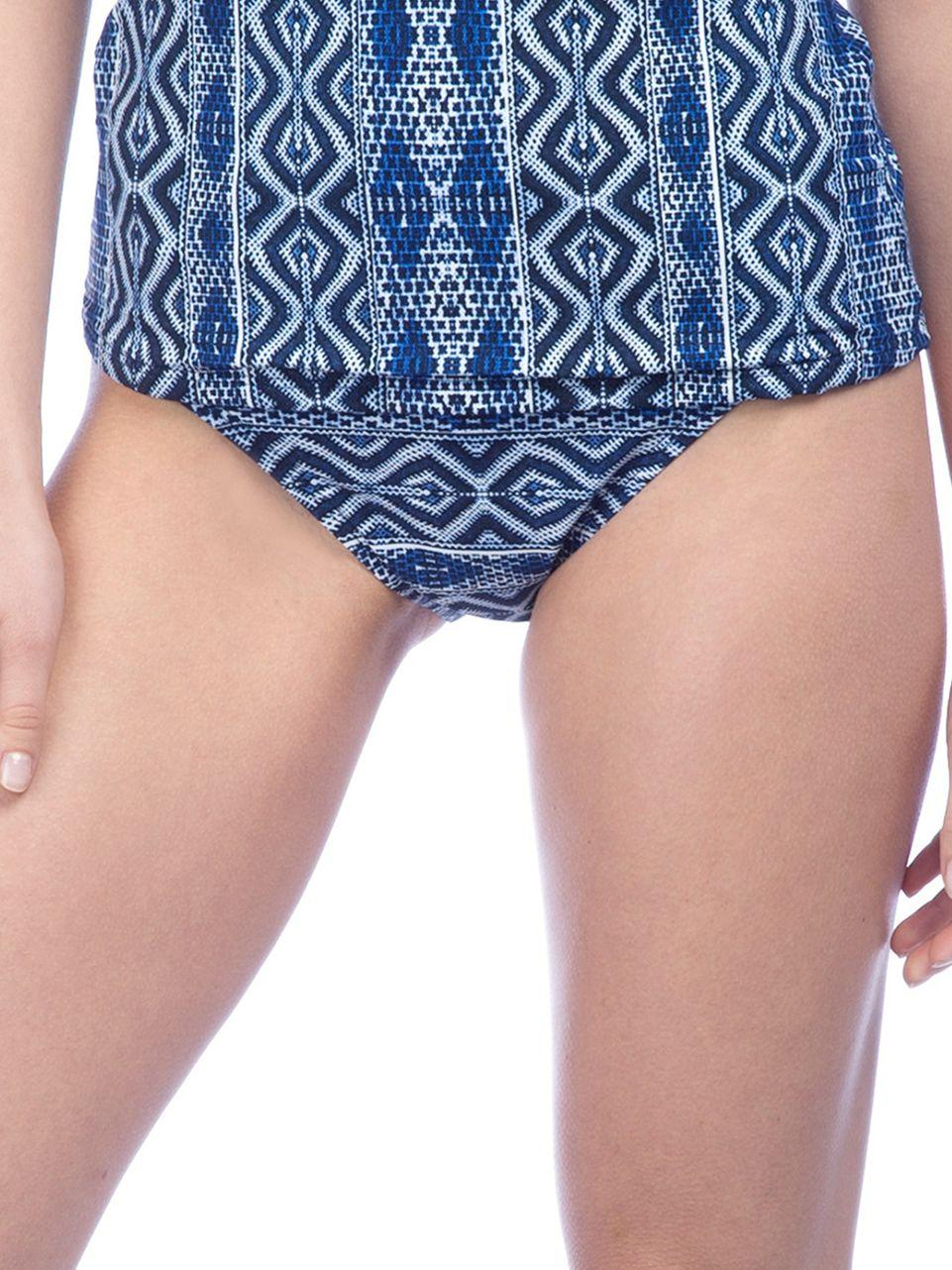 La blanca shirred band hipster bottom in blue lyst for Banded bottom shirts canada