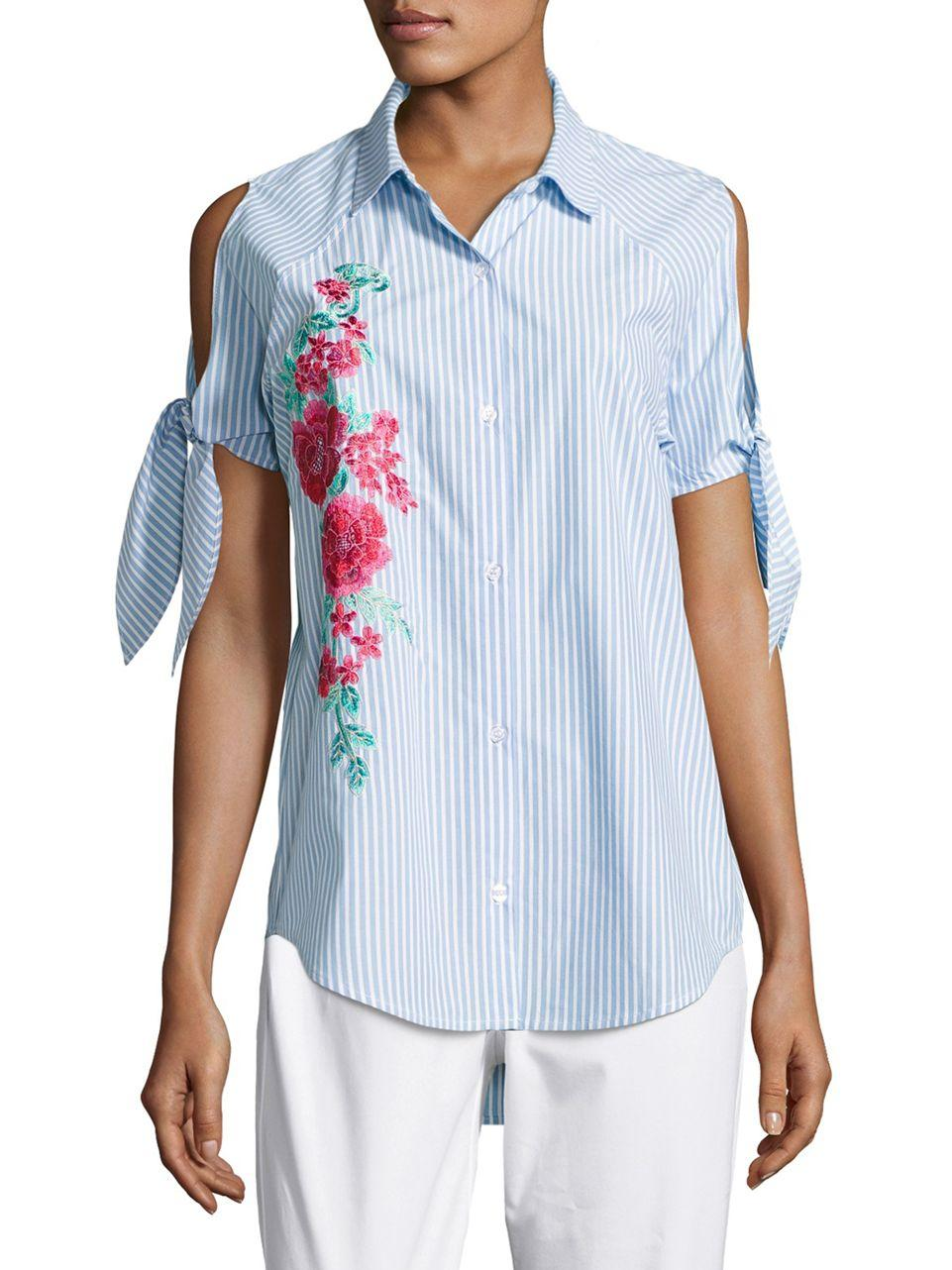 Lord Taylor Embroidered Chambray Top In Blue Lyst