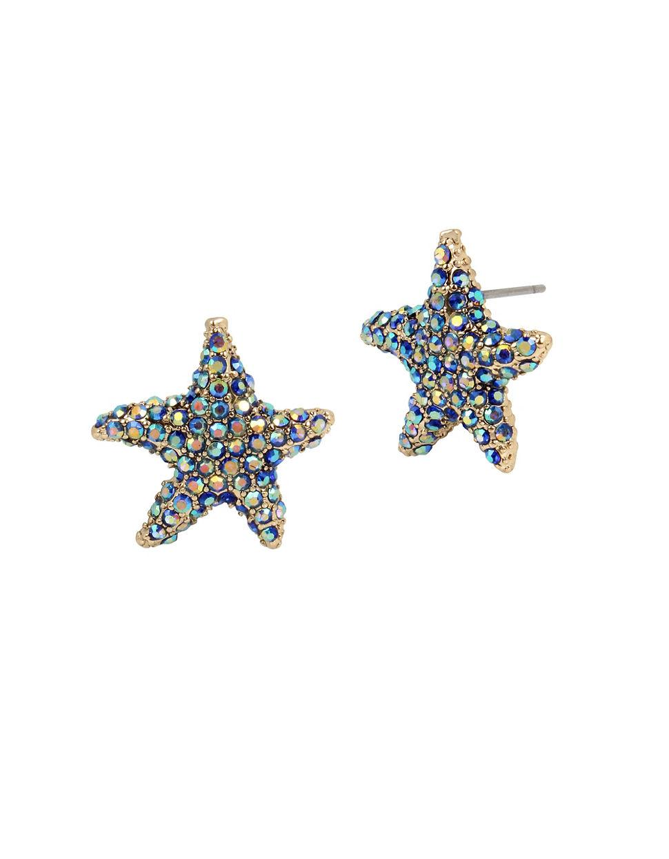 Betsey Johnson Women's Blue Glitter Reef Pave Starfish Stud Earrings