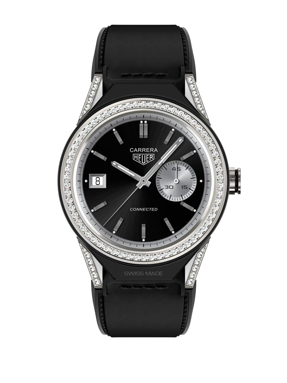Lyst tag heuer connected modular 45 titanium and leather strap smart watch in black for men for The tag heuer connected modular