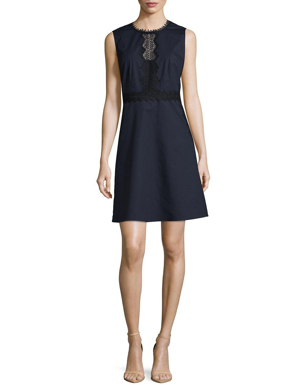 Ivanka trump embroidered lace accented dress in blue lyst