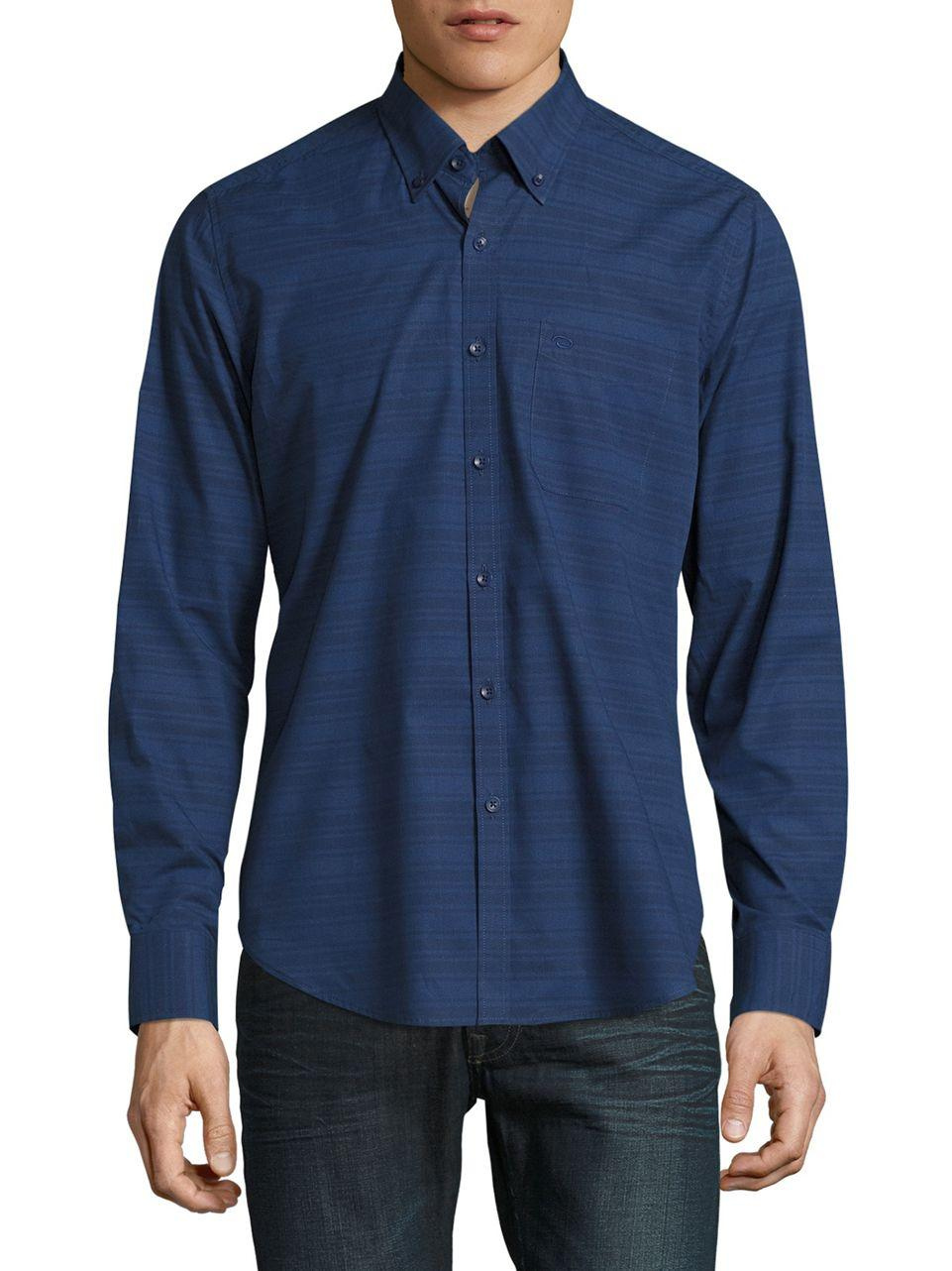 lyst oscar de la renta striped shirt in blue for men