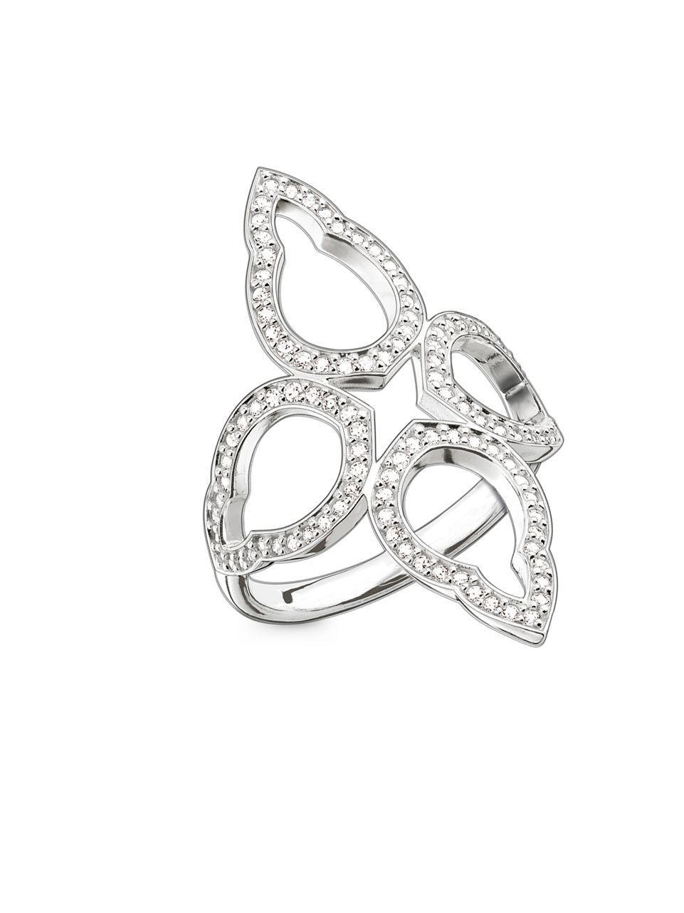 lyst thomas sabo flower oriental sterling silver ring in. Black Bedroom Furniture Sets. Home Design Ideas