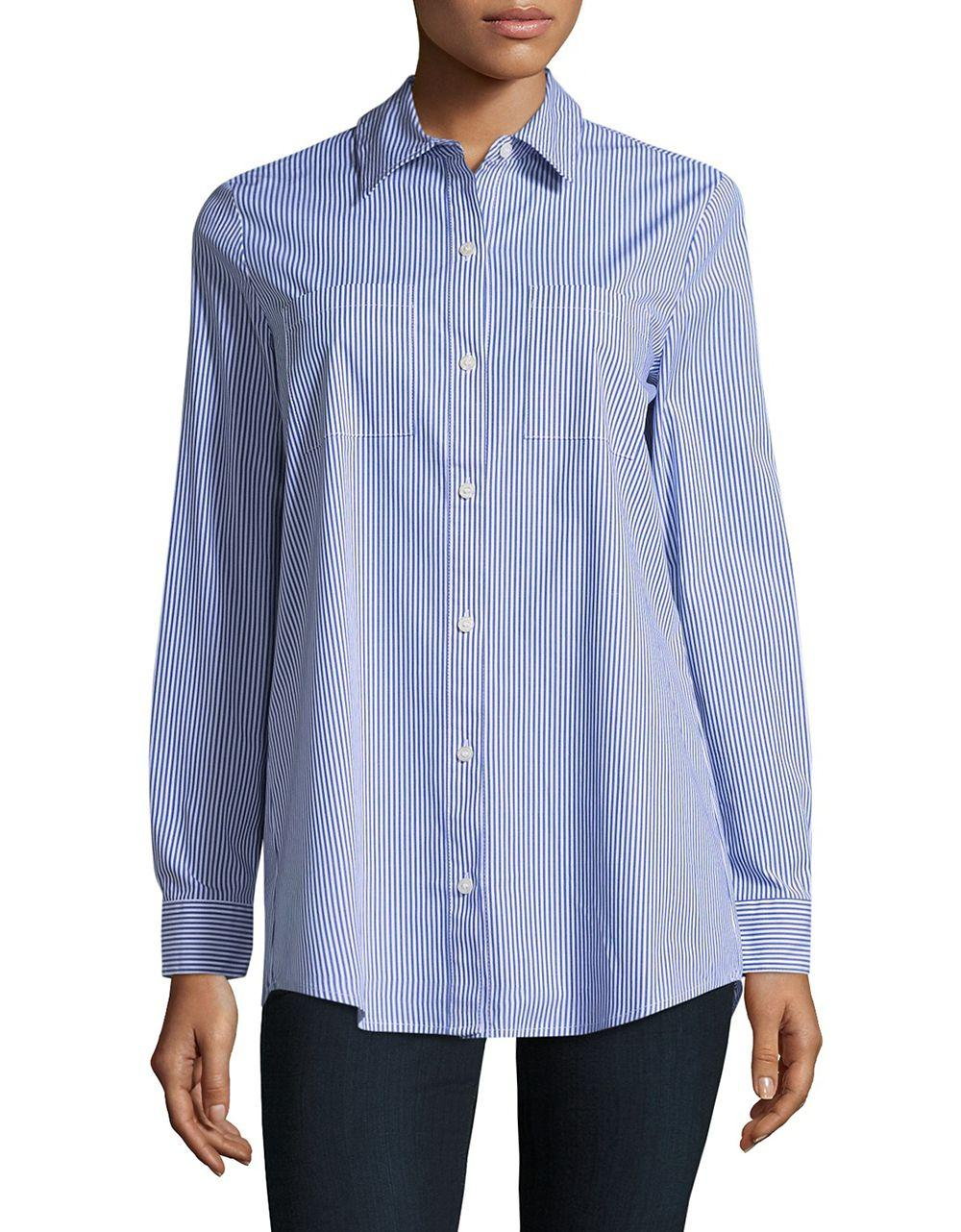 Lyst Lord Taylor Collared Cotton Blend Shirt In Blue