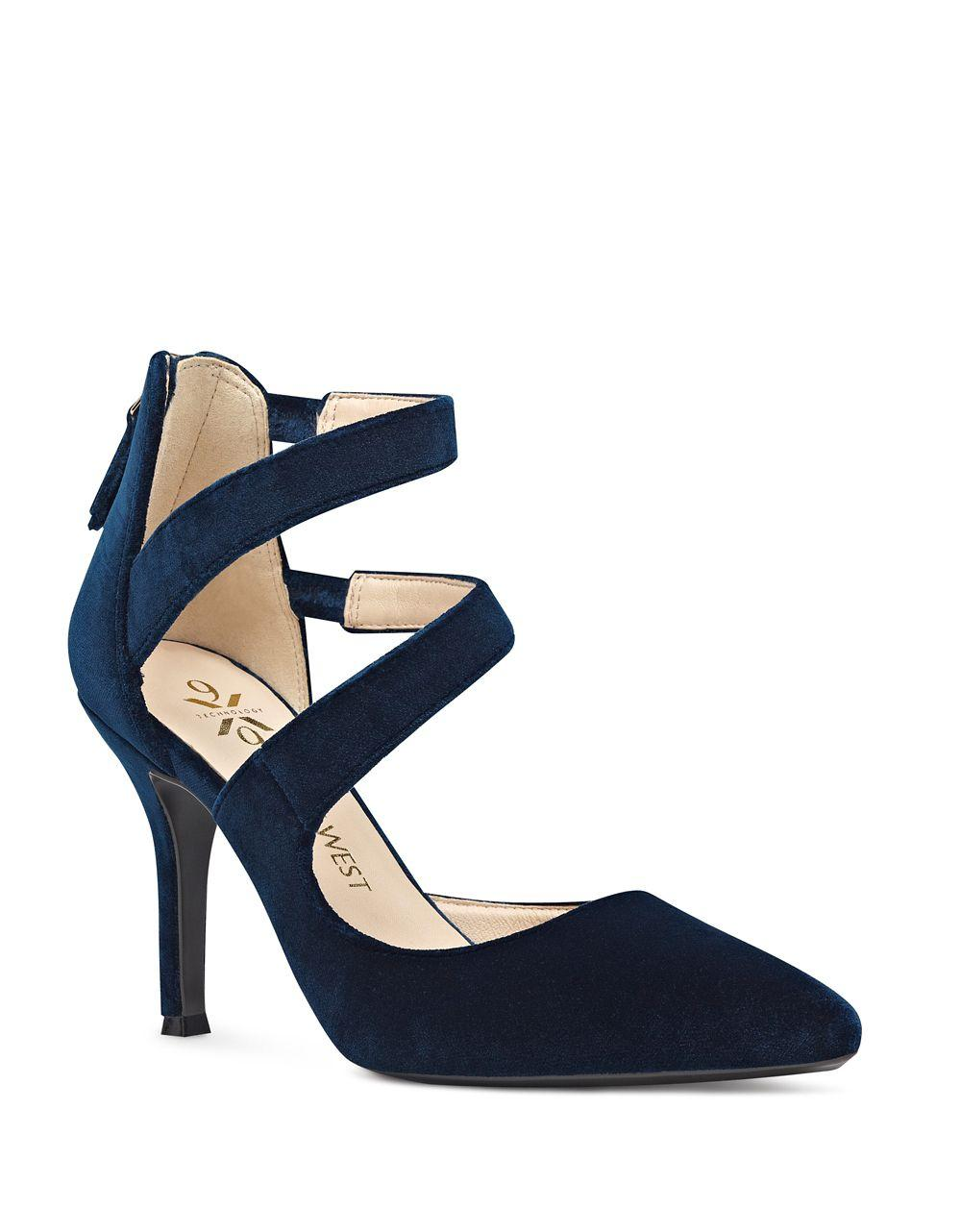 Lyst Nine West Florent Point Toe Velvet Pumps In Blue