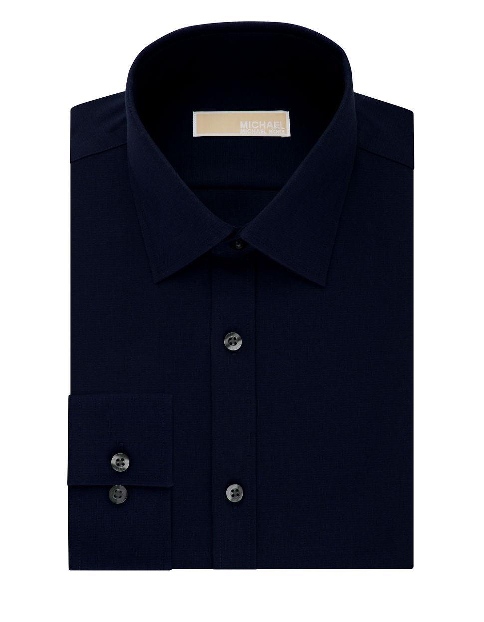 Michael Michael Kors Cotton Dress Shirt In Blue For Men Lyst