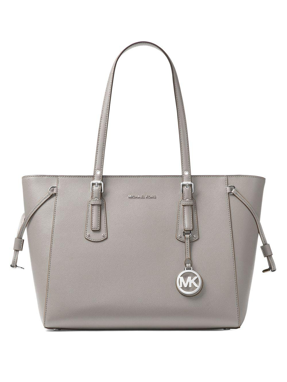 fdc821c96de9 Michael Michael Kors Voyager Leather Tote in Gray - Lyst