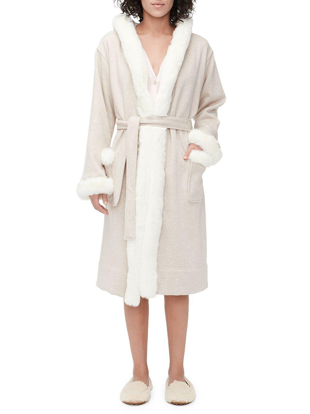 Lyst - Ugg Duffield Deluxe Faux-fur Trim Long Robe in Natural e04611242