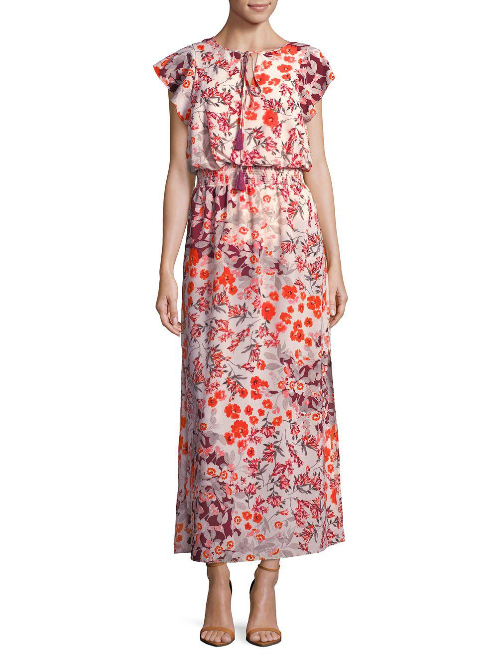 d2a705a3a33 Lyst - Adrianna Papell Floral Flutter-sleeve Maxi Dress in Red