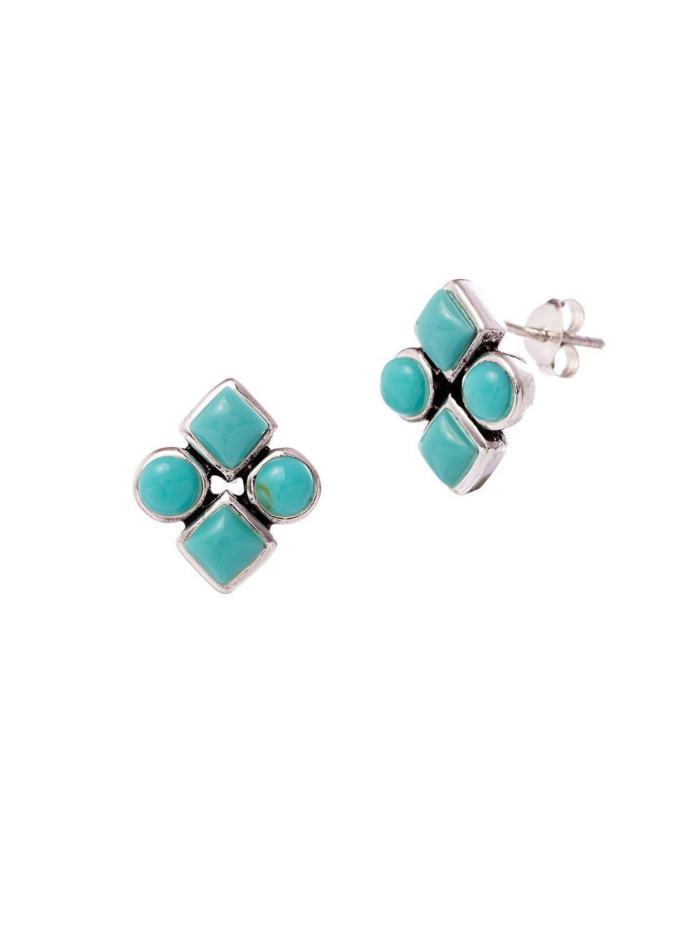 be3457f88 Lord & Taylor. Women's Blue 925 Sterling Silver Diamond-shaped Stud Earrings