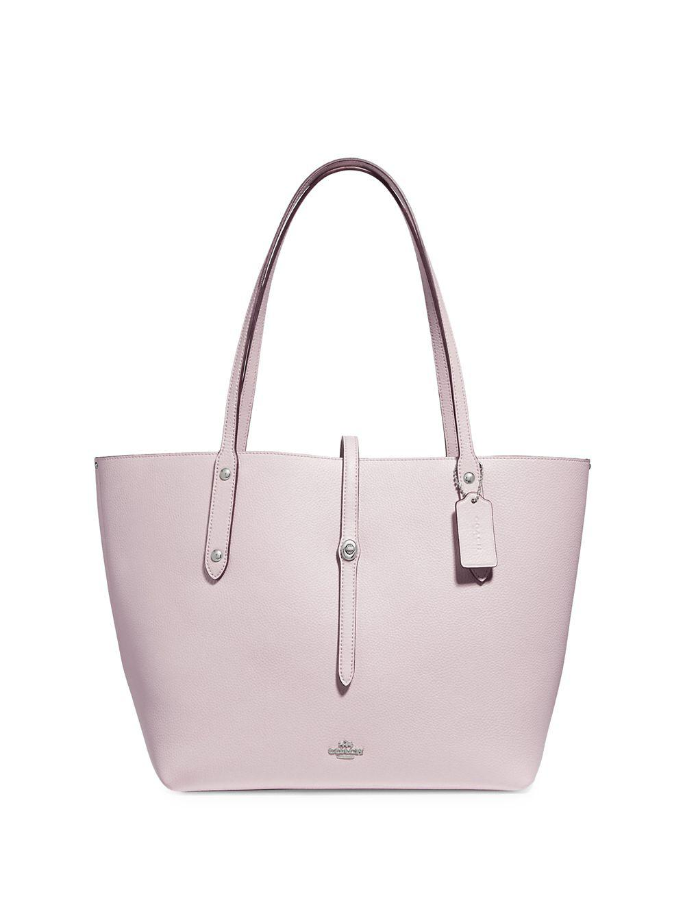 c39a166e81 Coach Polished Pebbled Leather Market Tote in Pink - Lyst