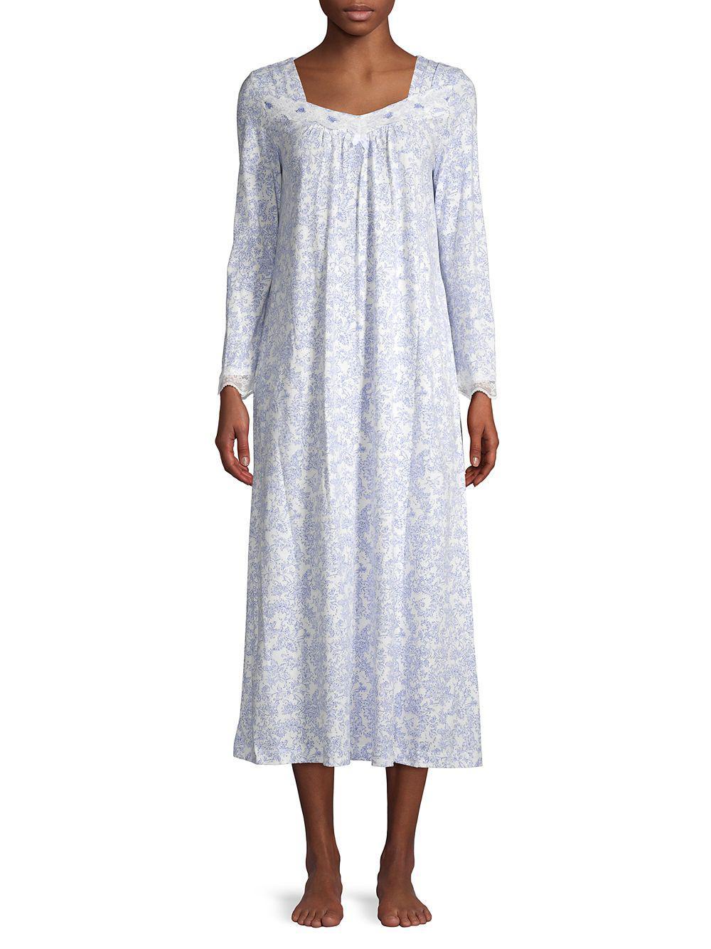 Lyst - Carole Hochman Floral Lace Trim Sleep Gown 870ce78cf