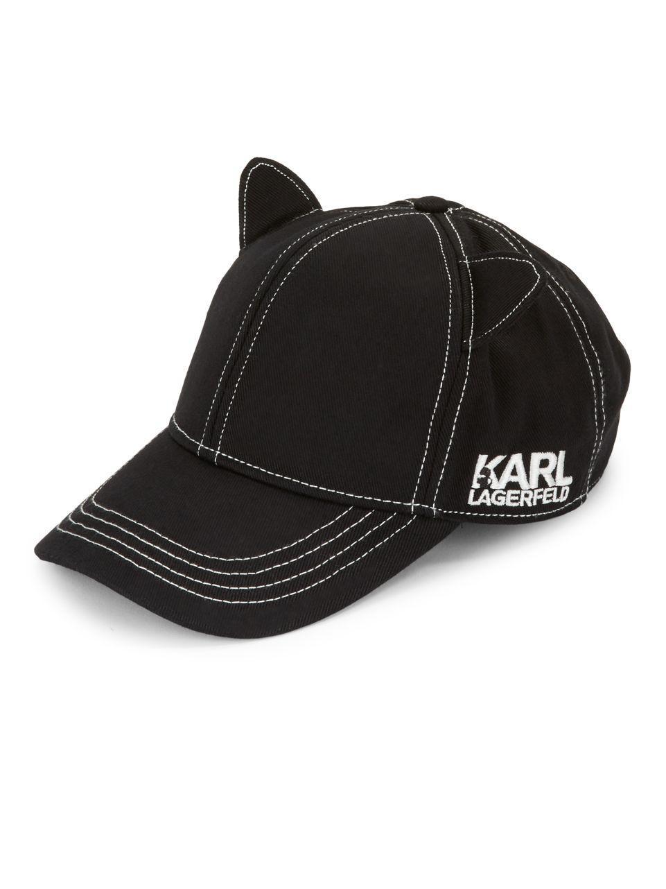 Karl Lagerfeld Cat Ears Baseball Hat in Black - Lyst 98425dc1379