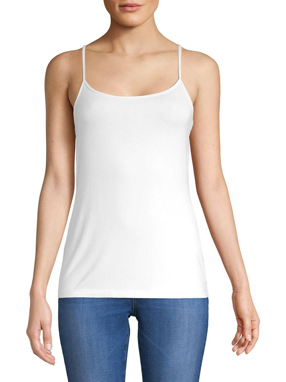 42ea8c7b931c9 Lyst - Lord   Taylor Classic Scoopneck Camisole in White