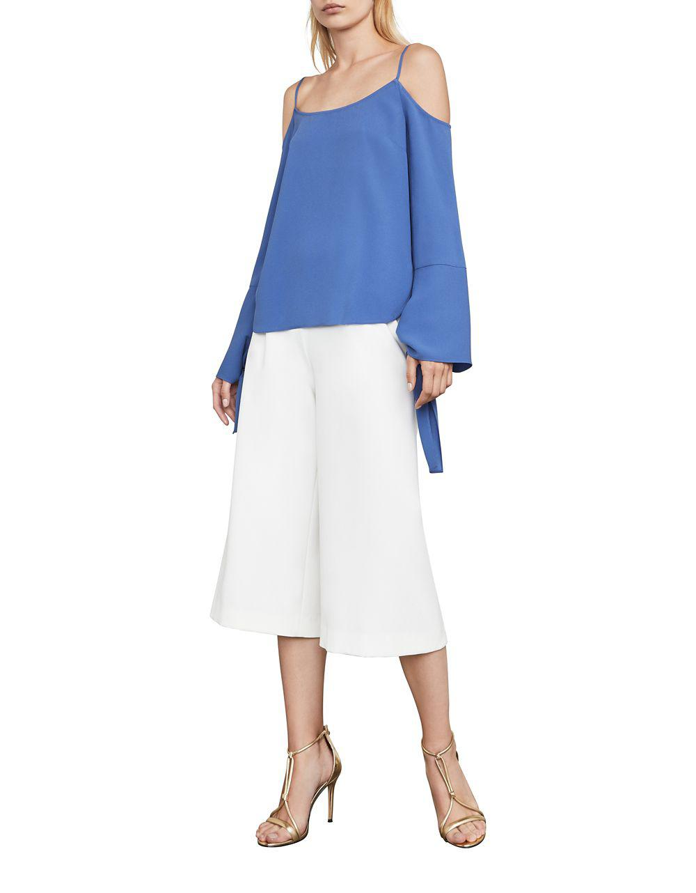 e4e486f1f7e923 Lyst - Bcbgmaxazria Nicholette Cold-shoulder Crepe Top in Blue