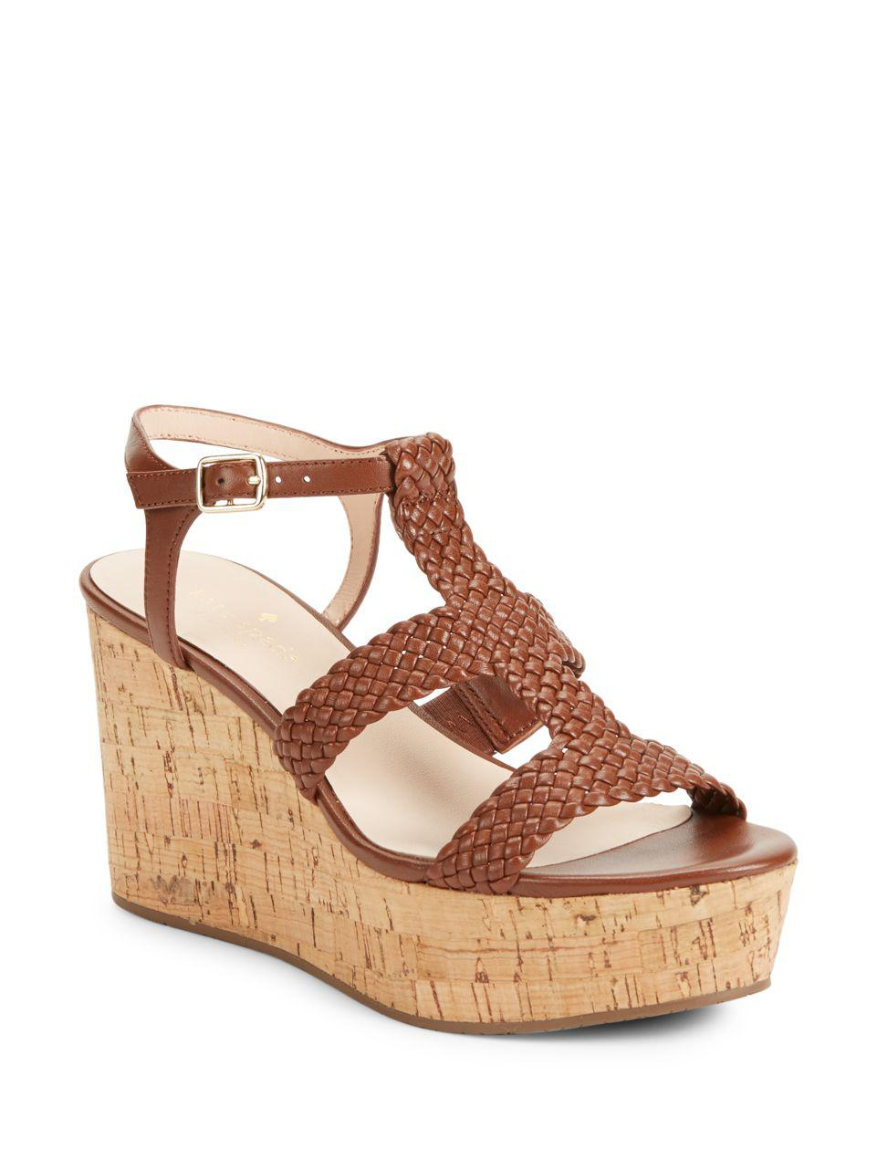 795c39bad7e3 Lyst - Kate Spade Tianna Woven Leather Cork Platform Wedge Sandals ...