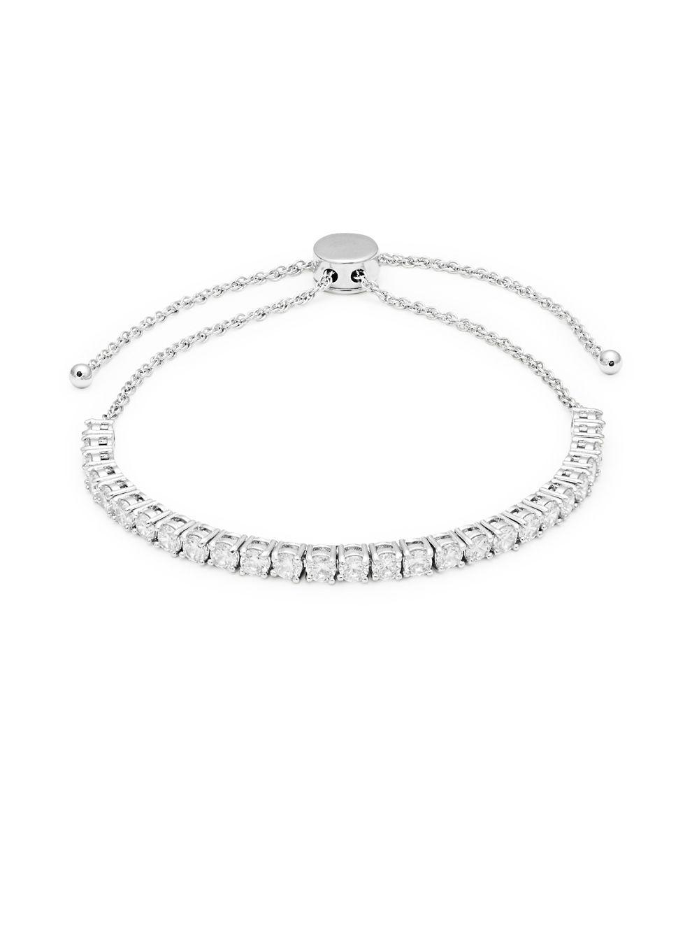 Kate Spade Women S Metallic Sterling Silver Crystal Tennis Bracelet