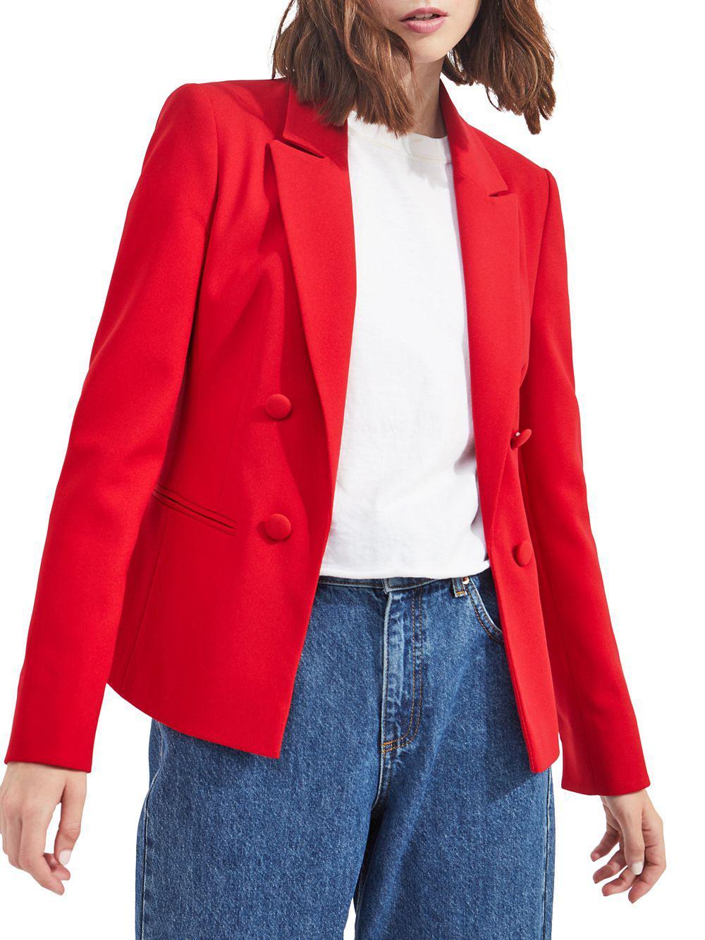 d9ff11dc336 Lyst - Miss Selfridge Peak Lapel Button Jacket in Red