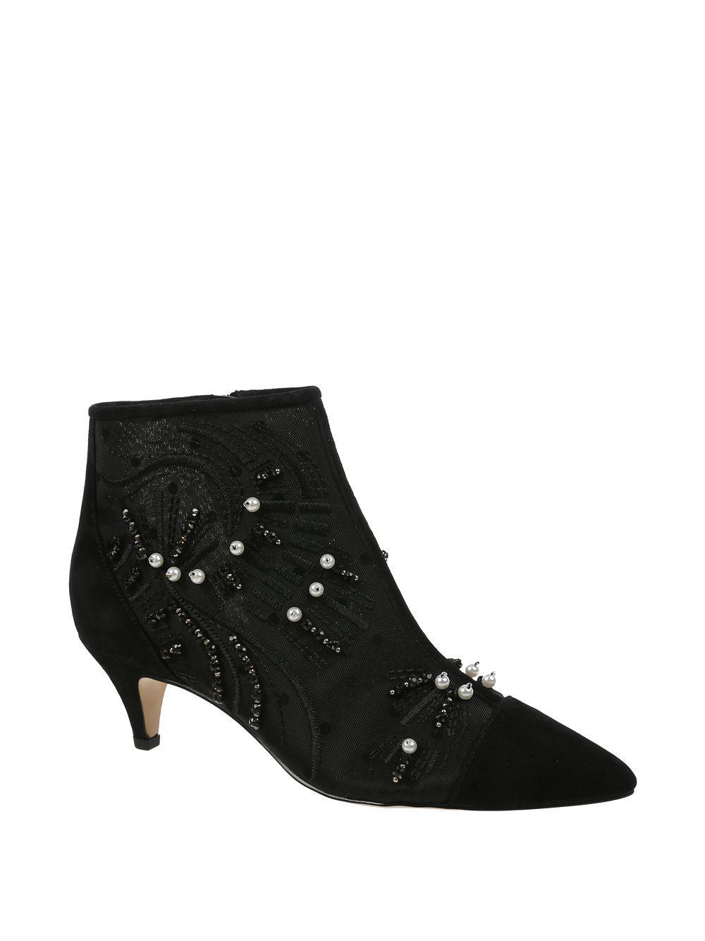 9c8c95a7b097c6 Lyst - Sam Edelman Kami Embellished Kitten Heel Booties in Black ...