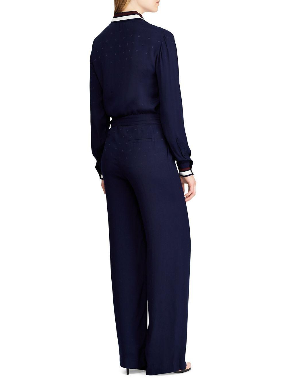 287e5cd2fc2 Lyst - Lauren By Ralph Lauren Stripe-trimmed Jacquard Jumpsuit in Blue
