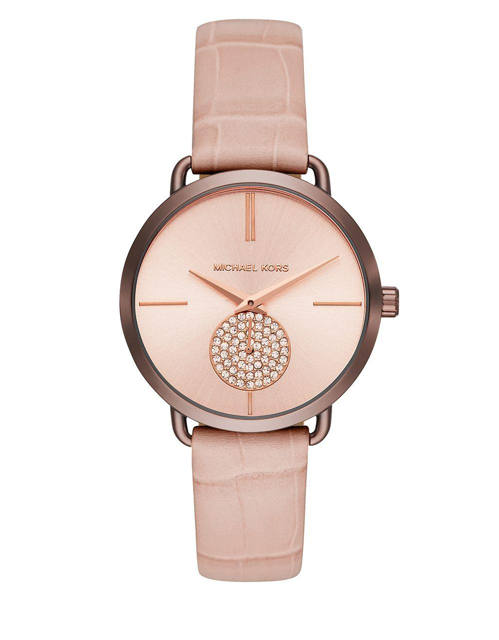 0718c182dbf7 Michael Kors - Multicolor Portia Sable Ip And Leather-strap Watch - Lyst.  View fullscreen