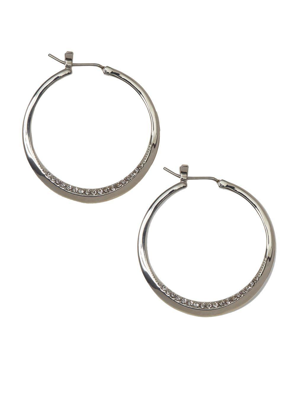 Vince Camuto Women S Metallic Silvertone Crystal Pave Rim Hoop Earrings