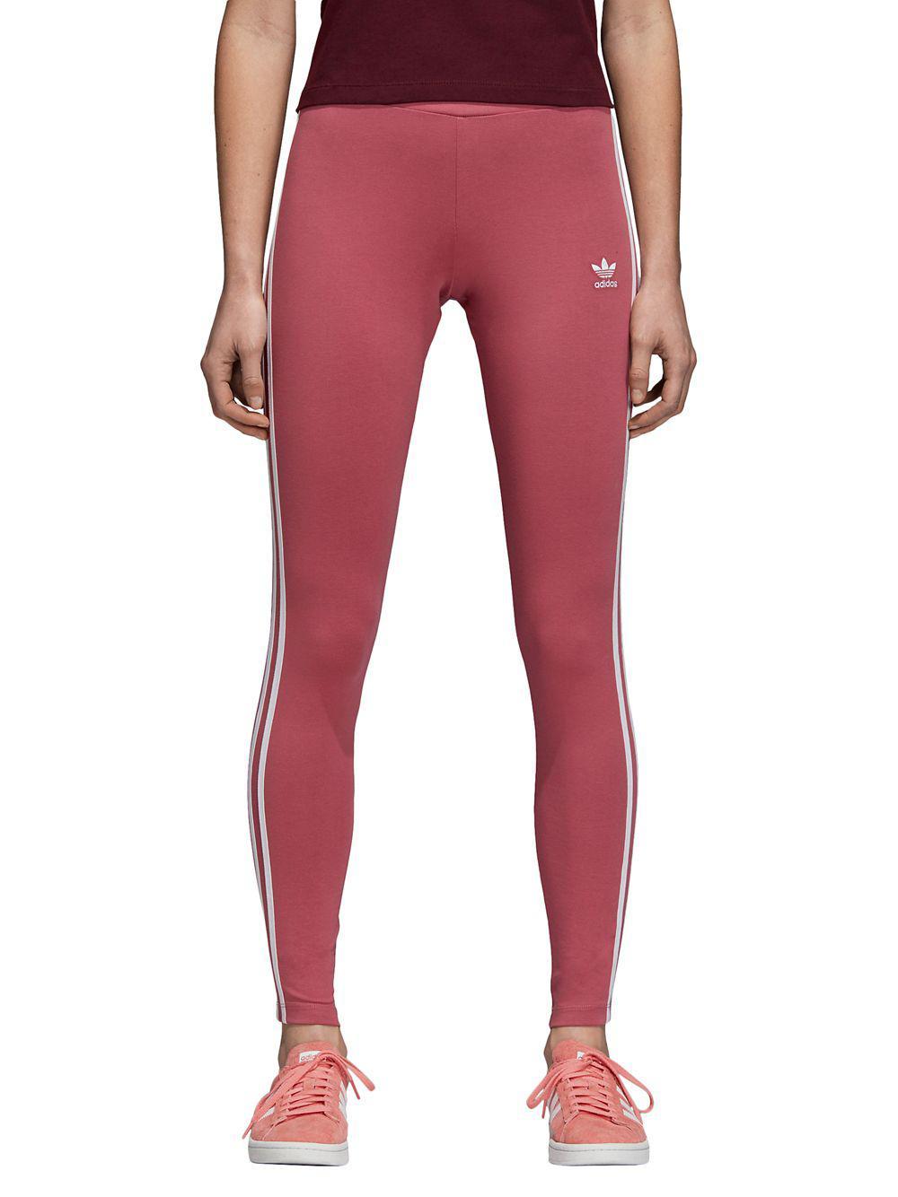 21c6f8594c0 Adidas Originals Mid-rise Three-stripes Leggings in Pink - Lyst