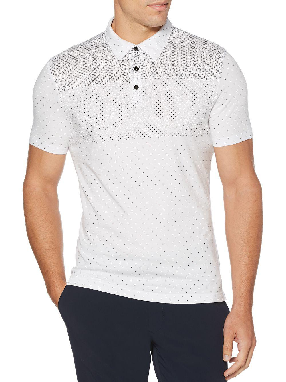 47266a8aa0 Perry Ellis Dotted Short-sleeve Cotton Polo in White for Men - Lyst