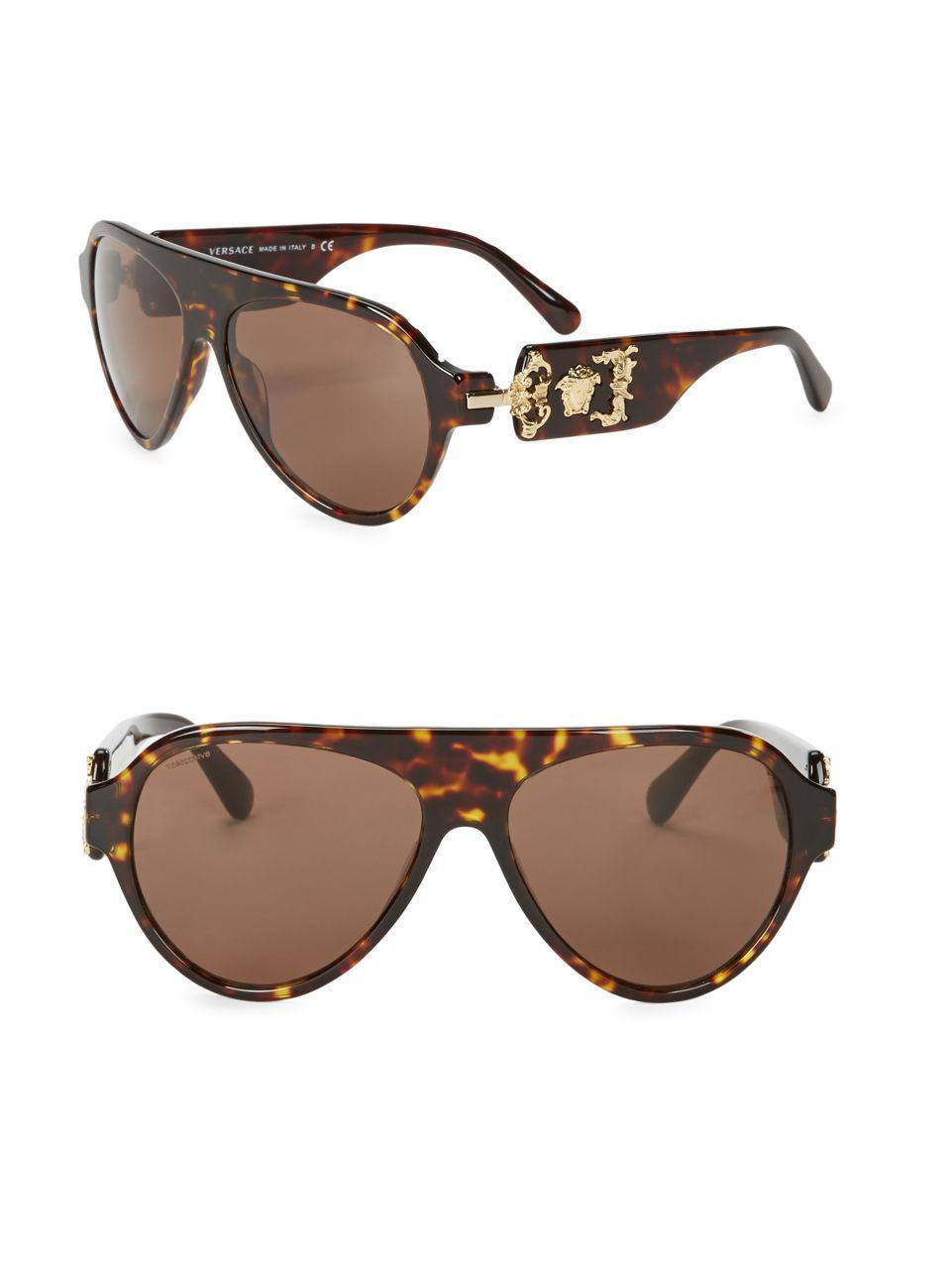 a639c5501884 Lyst - Versace 62mm Aviator Sunglasses in Brown