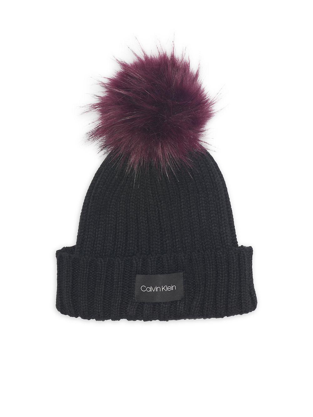 67b2b9009df Lyst - Calvin Klein Pop Color Knit Faux Fur Pom-pom Beanie in Black