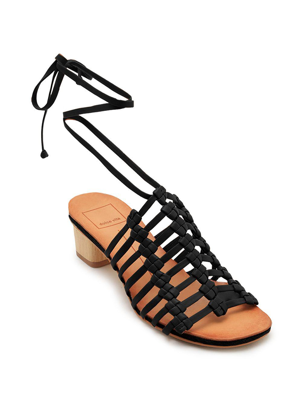455c33b6b4f Dolce Vita Kai Leather Macramé Sandals in Black - Lyst