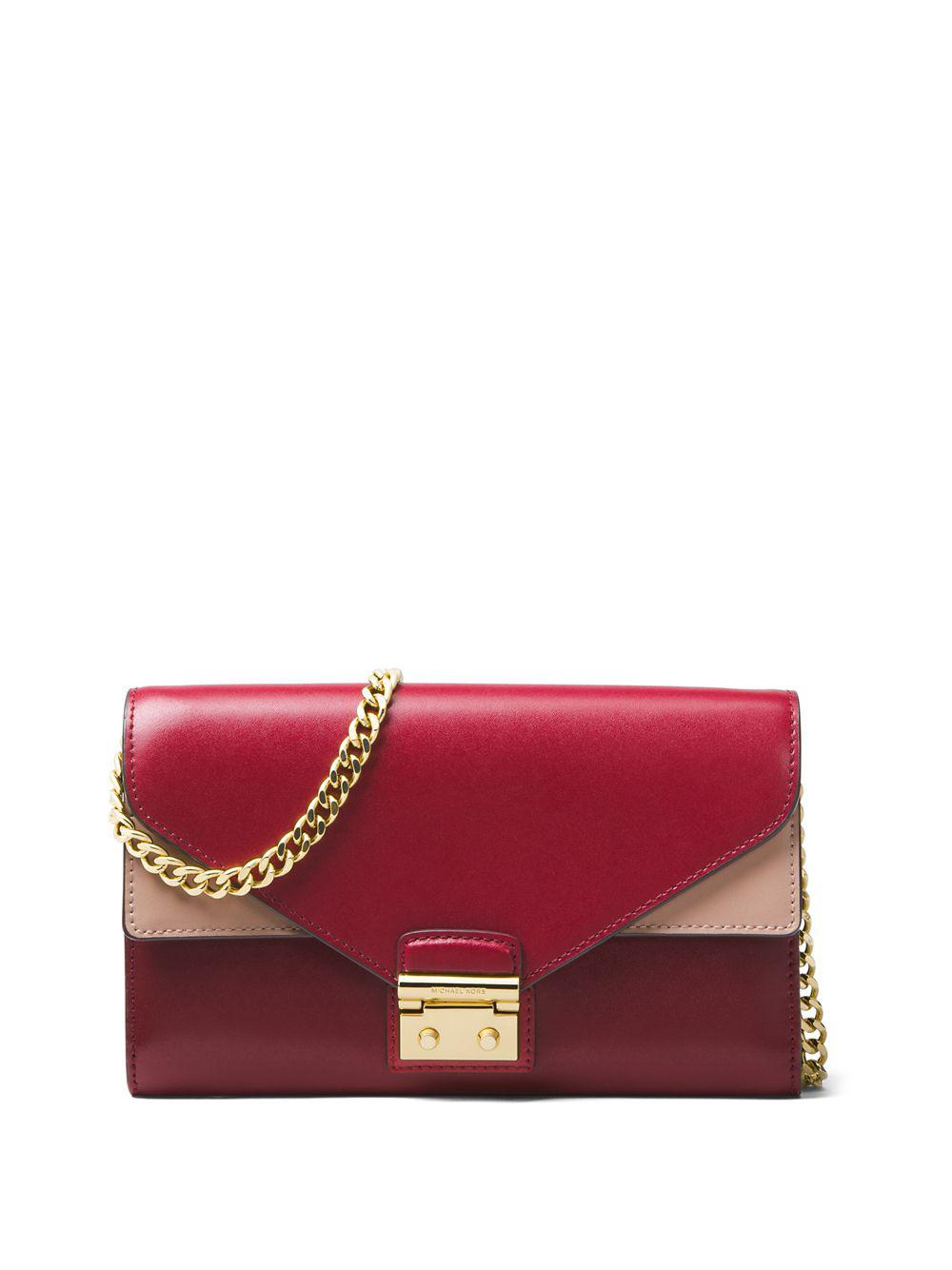 Michael Michael Kors Sloan Leather Chainlink Clutch in Red - Lyst 113db7e2a53a2