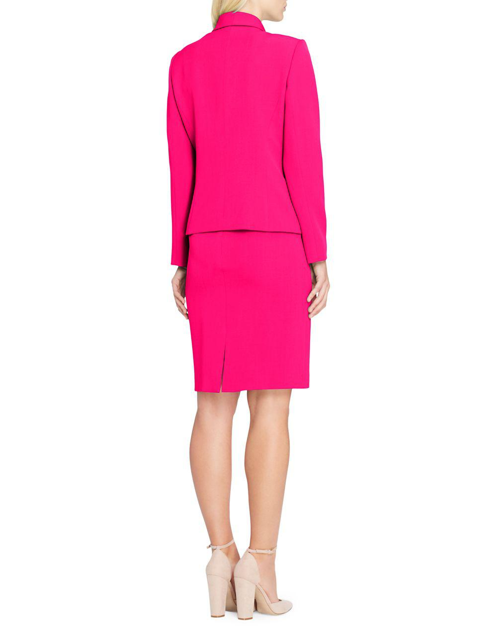 4892173a96cb Tahari Petite Assymetrical Button Jacket And Skirt Suit in Pink - Lyst