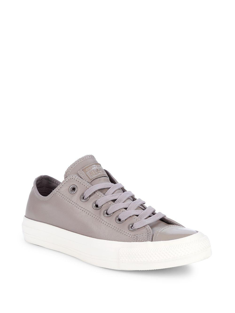 465588092d87d4 Converse All-star Leather Low-top Sneakers in Gray - Lyst