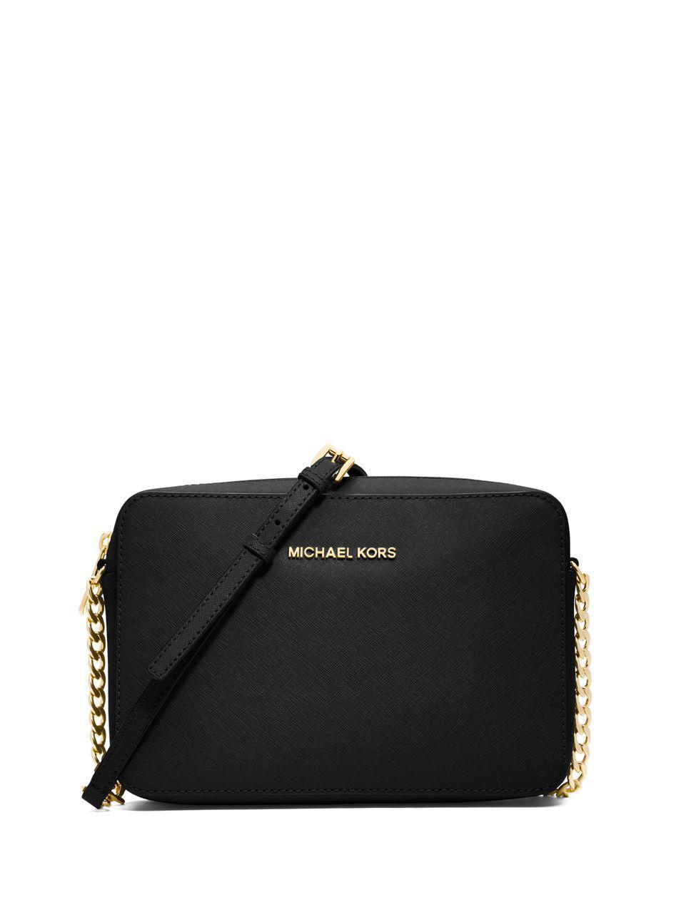 ef6637191813 Lyst - Michael Michael Kors Saffiano Leather Crossbody Bag in Black